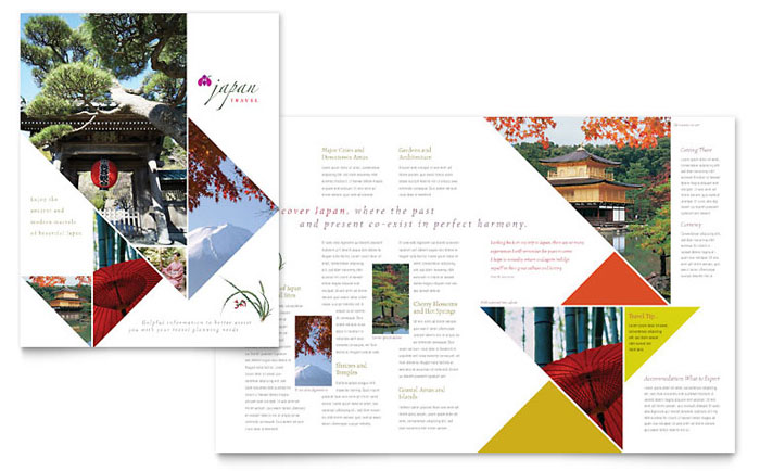 Japan travel brochure template word publisher for Travel guide brochure template