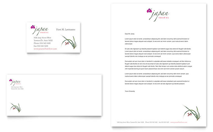 japan travel business card  u0026 letterhead template