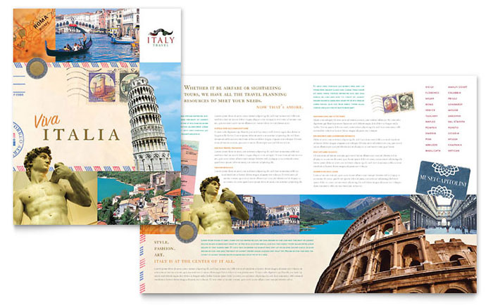 Italy travel brochure template word publisher for Travel guide brochure template