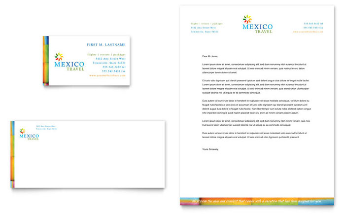 Mexico Travel Business Card & Letterhead Template - Word & Publisher