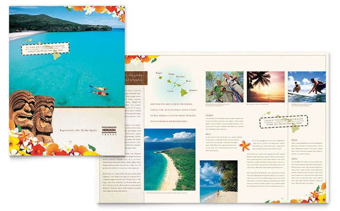 Hawaii travel vacation brochure template word publisher for Publisher template brochure