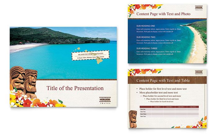 hawaii travel vacation powerpoint presentation - powerpoint template, Modern powerpoint