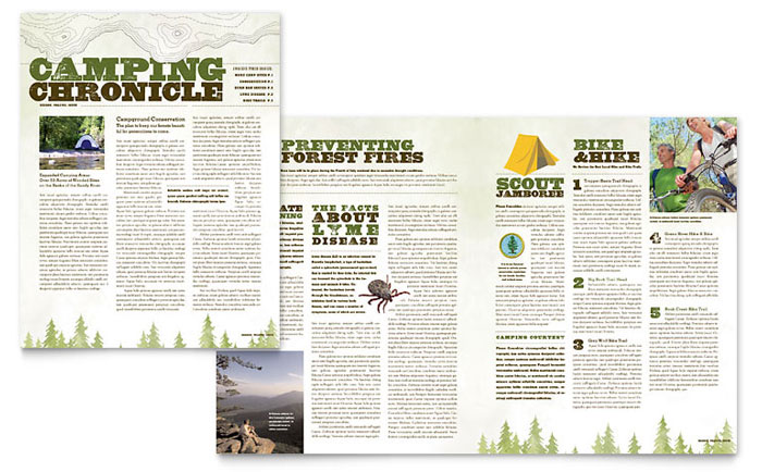 Nature Camping & Hiking Newsletter Template - Word & Publisher