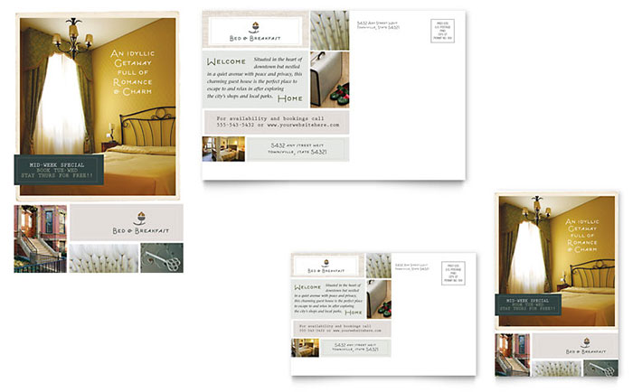 Bed & Breakfast Motel Postcard Template - Word & Publisher