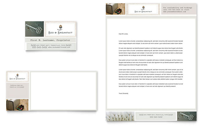 Bed & Breakfast Motel Business Card & Letterhead Template - Word & Publisher