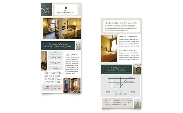 bed breakfast motel rack card template word publisher. Black Bedroom Furniture Sets. Home Design Ideas