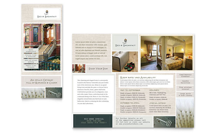 Bed breakfast motel tri fold brochure template word for Hotel brochure templates free download