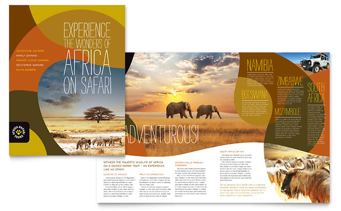 African safari brochure template word publisher for Travel brochure templates