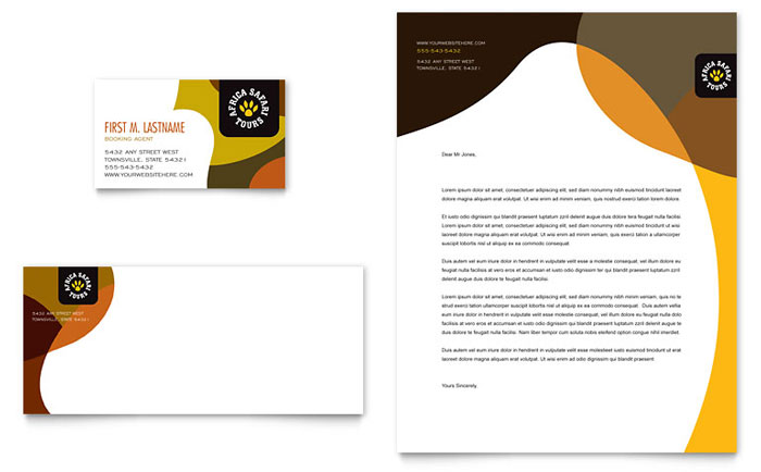 African Safari Business Card Letterhead Template Word Publisher - Business card template word free download