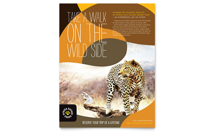 African Safari Flyer Template Download - Word & Publisher - Microsoft Office