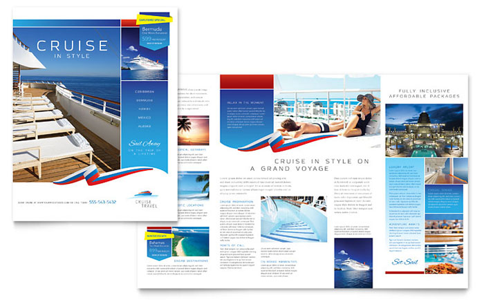 Cruise travel brochure template word publisher for Travel guide brochure template