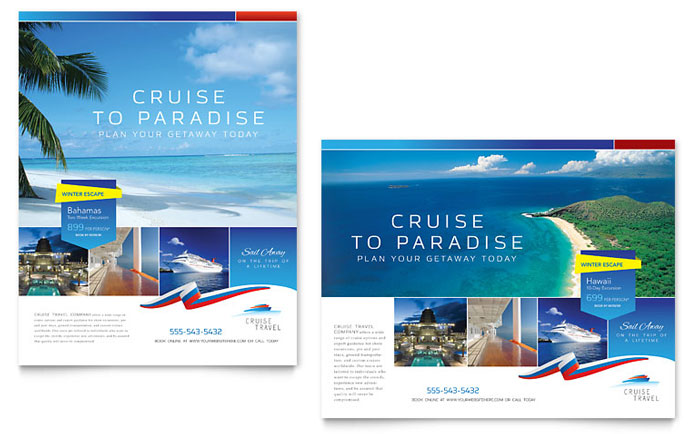 Cruise travel poster template word publisher for Cruise brochure template