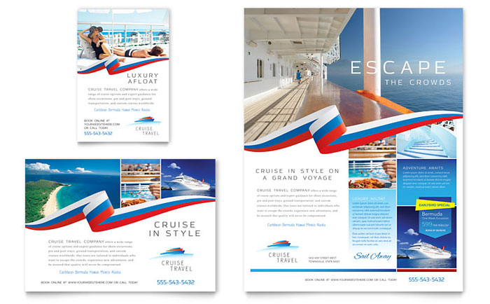 Cruise travel flyer ad template word publisher for Microsoft office publisher templates for brochures