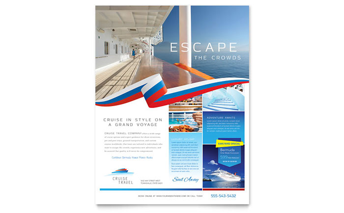 cruise travel flyer template
