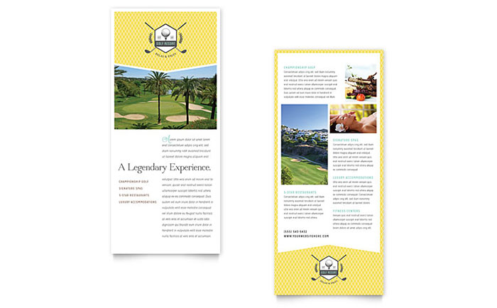 golf resort rack card template word publisher. Black Bedroom Furniture Sets. Home Design Ideas