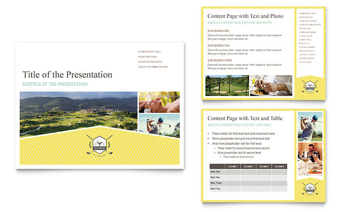 Golf Resort PowerPoint Presentation Template Download - Microsoft Office