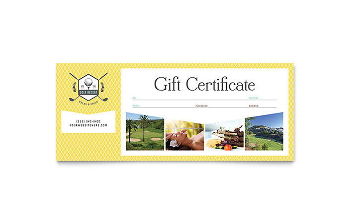 Golf Resort Gift Certificate Template Word Publisher