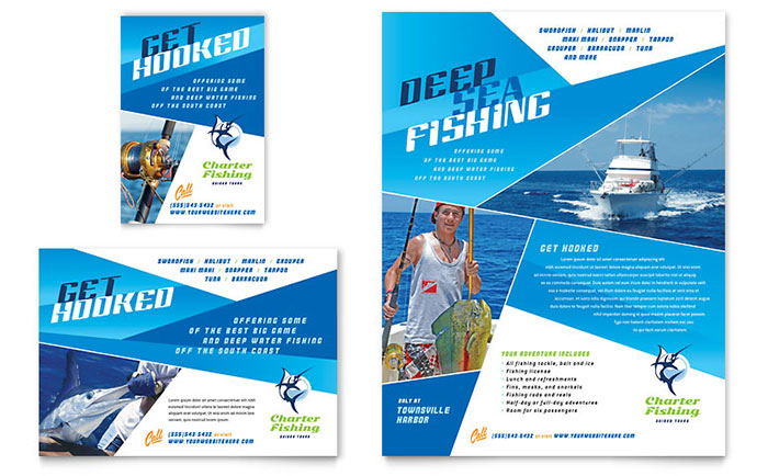 Fishing Charter Guide Flyer Ad Template Word Publisher - Display ad templates