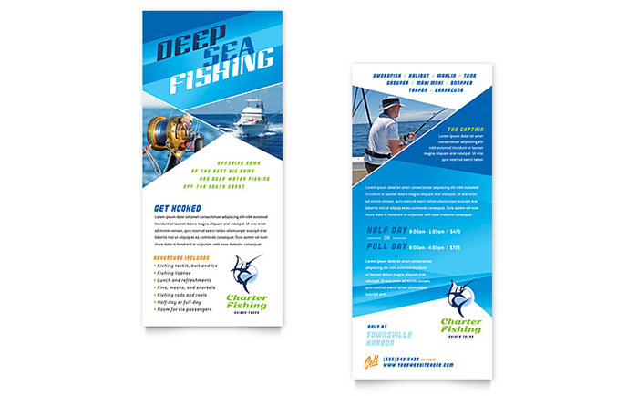 Fishing Charter Guide Rack Card Template Word Publisher - Rack card template publisher