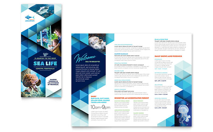 Ocean aquarium brochure template word publisher for Publisher brochure templates
