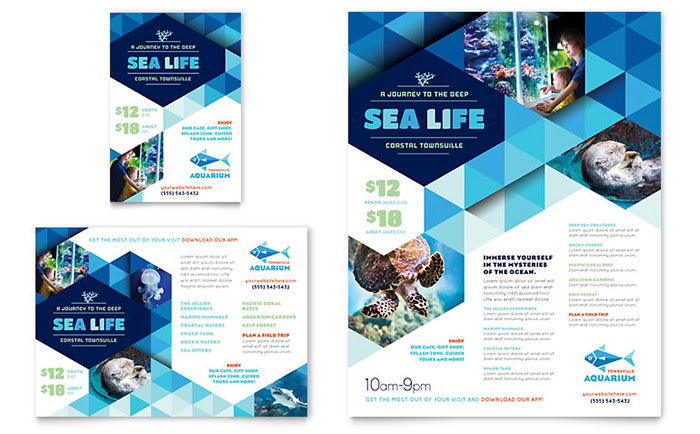 Ocean Aquarium Flyer & Ad Template Download - Word & Publisher - Microsoft Office