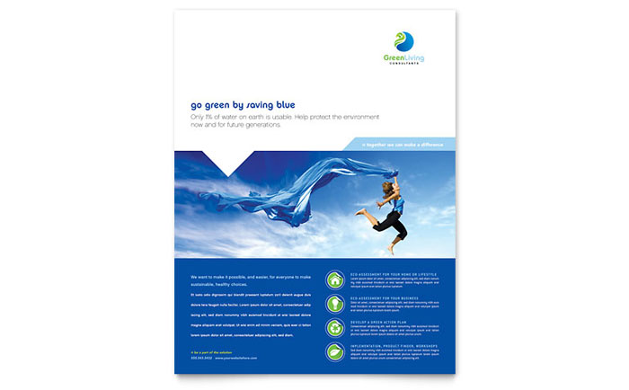 Azure Flyer Template | Green Living Recycling Flyer Template Word Publisher