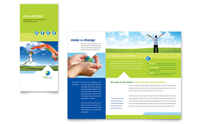 Green living recycling tri fold brochure template word for Microsoft office publisher templates for brochures