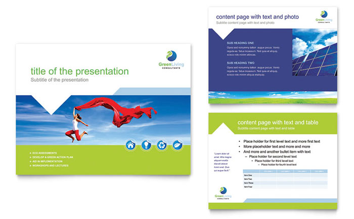 Great Green Living U0026 Recycling PowerPoint Presentation Template   PowerPoint