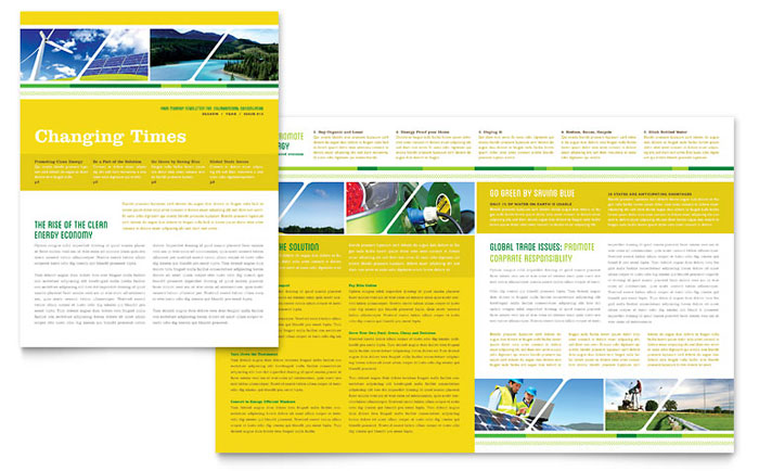 Environmental Conservation Newsletter Template Word Publisher