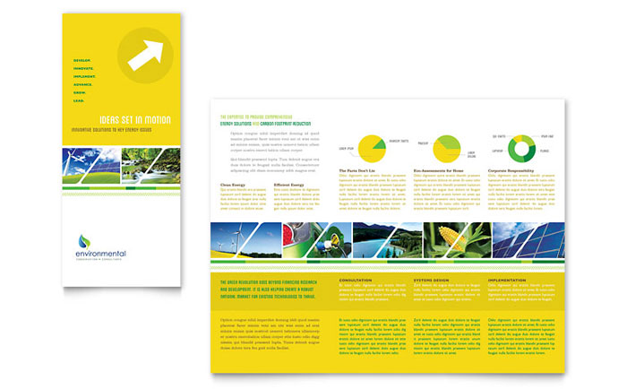 Environmental conservation tri fold brochure template for Publisher brochure templates