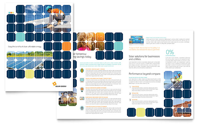 Solar Energy Brochure Template Word Publisher - Bi fold brochure template publisher