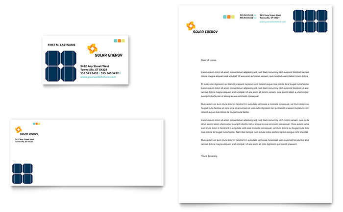 Solar Energy Business Card & Letterhead Template Download - Word & Publisher - Microsoft Office