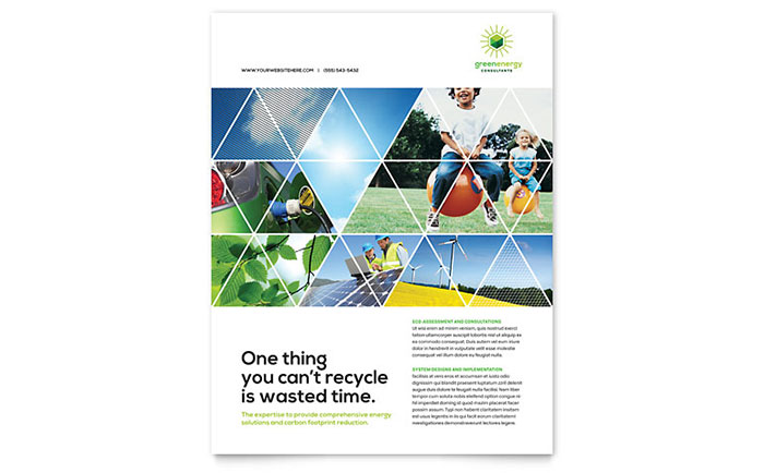 Green Energy Consultant Flyer Template - Word & Publisher