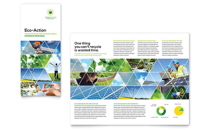 Green Energy Consultant Tri Fold Brochure Template - Word & Publisher