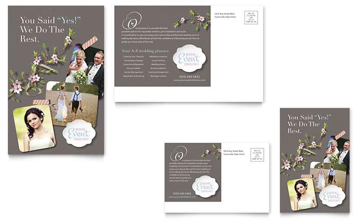 Wedding Planner Postcard Template Word Publisher - Event postcard template