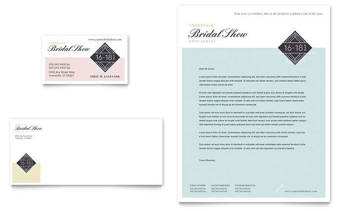 Bridal Show Business Card & Letterhead Template Download - Word & Publisher - Microsoft Office