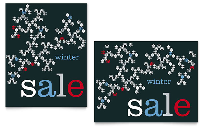 snowflake pattern sale poster template