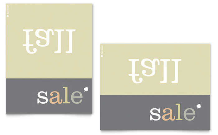 Inverse Upside Down Fall Sale Poster Template - Word & Publisher