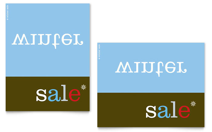 Inverse Upside Down Winter Sale Poster Template - Word & Publisher