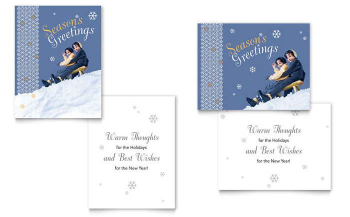 children sledding greeting card template word publisher. Black Bedroom Furniture Sets. Home Design Ideas