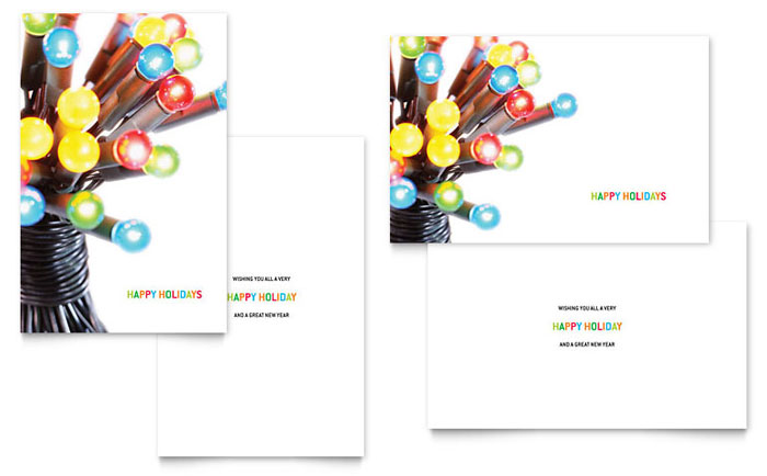 Christmas Lights Greeting Card Template - Word & Publisher