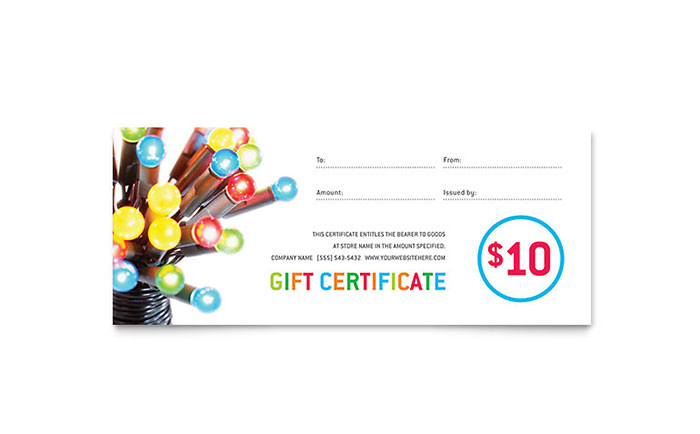 Christmas lights gift certificate template word publisher yelopaper Gallery