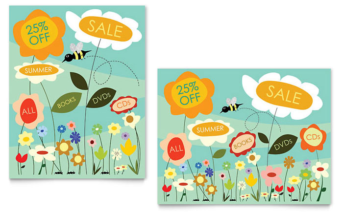 Spring Summer Flowers Sale Poster Template Word Publisher