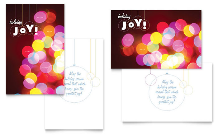 Holiday Lights Greeting Card Template  Word  Publisher
