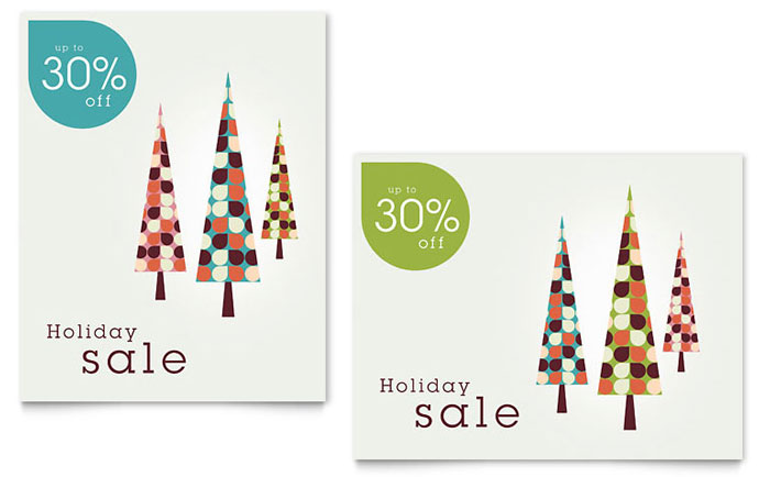 Modern Holiday Trees Sale Poster Template - Word & Publisher