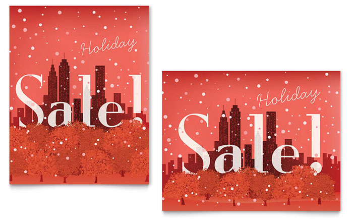 cityscape winter holiday sale poster template word publisher