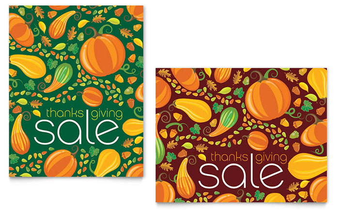 Thanksgiving Harvest Sale Poster Template - Word & Publisher