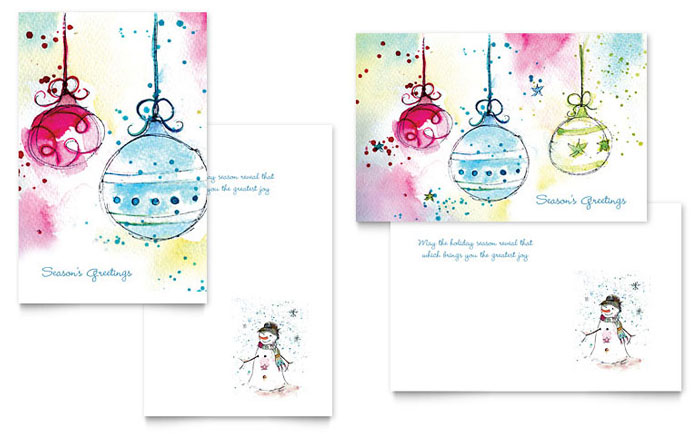Whimsical Ornaments Greeting Card Template Word Publisher