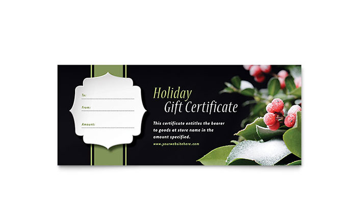 Holly Leaves Gift Certificate Template - Word & Publisher