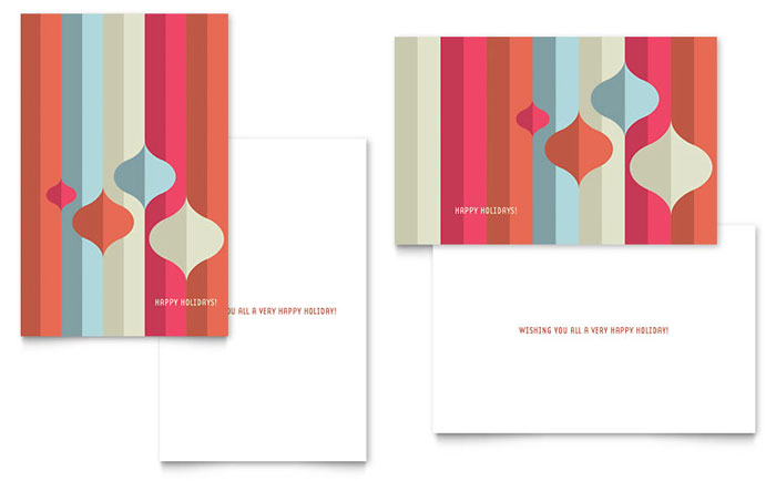 Modern Ornaments Greeting Card Template  Word  Publisher